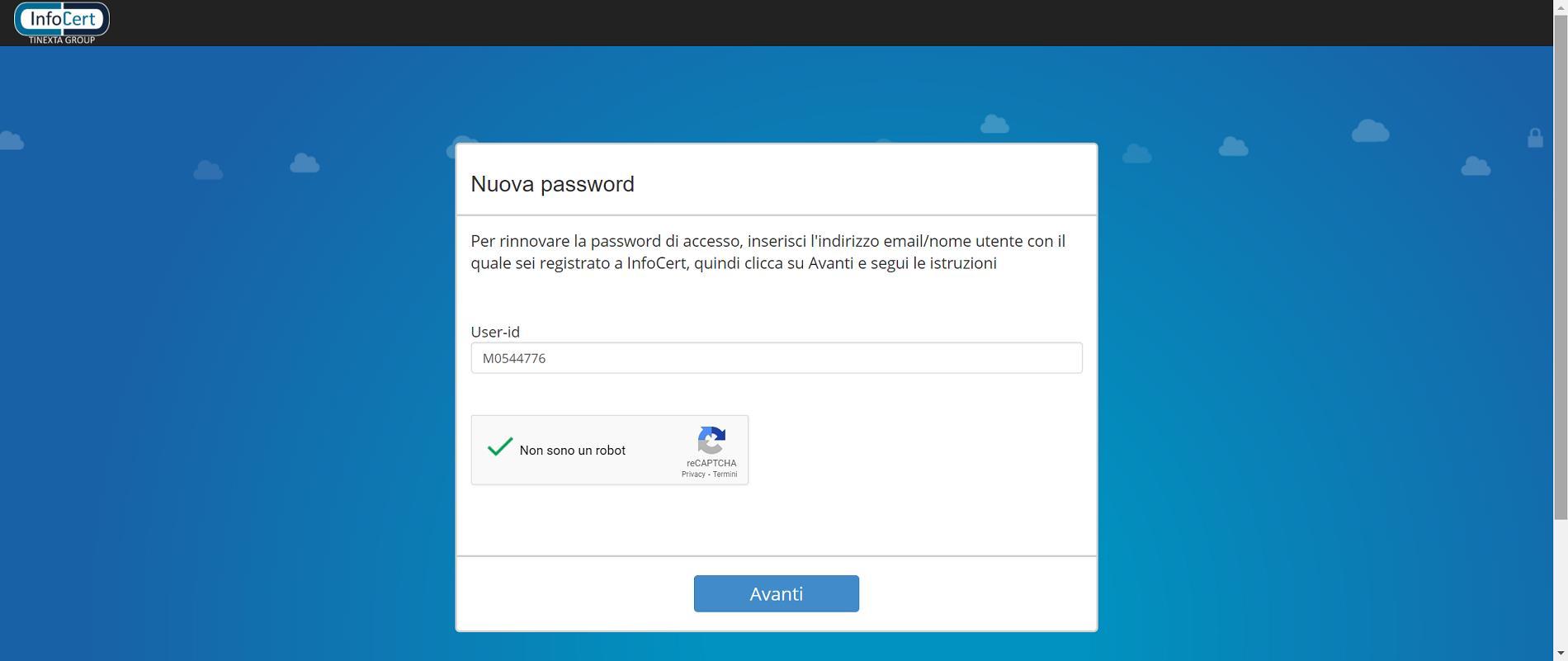 Inserisci il tuo User-ID