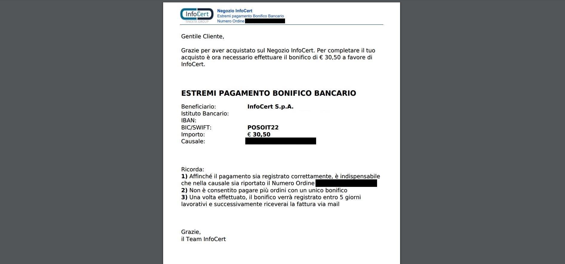 Pagamento con Bonifico bancario 3