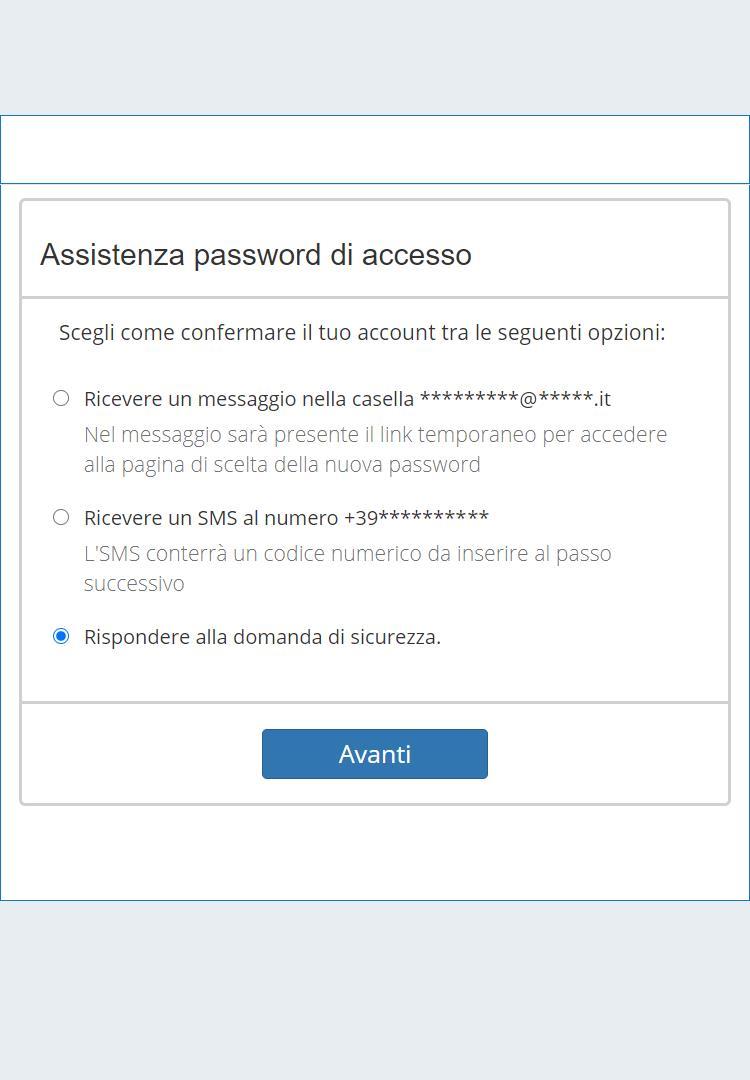 Recupero della password attraverso la Domanda di Sicurezza