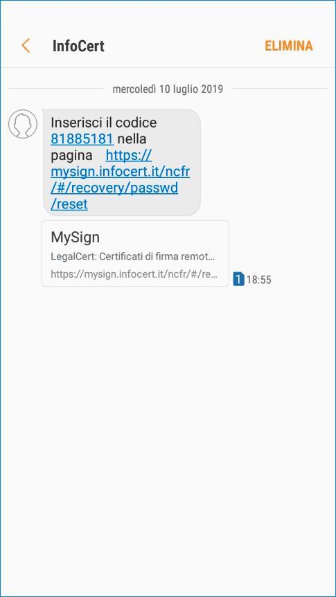 Messaggio SMS