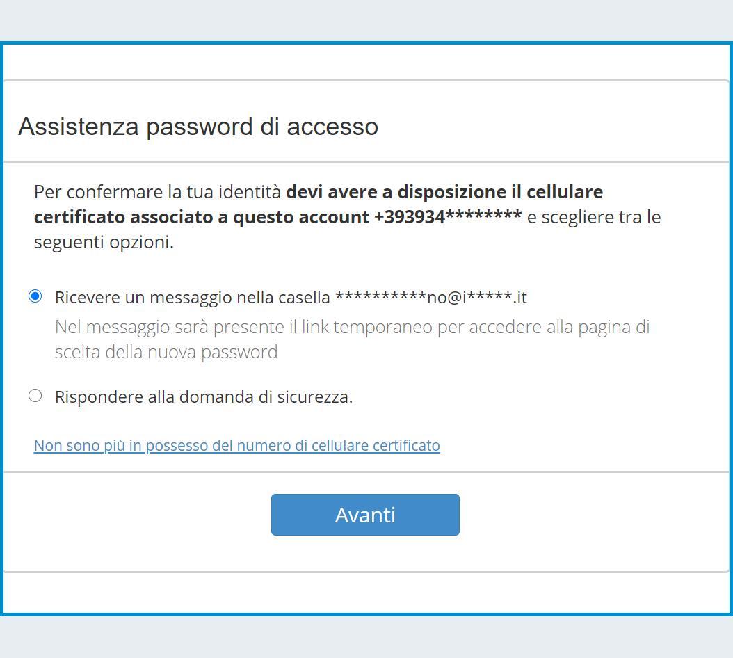 Recupero della password via email