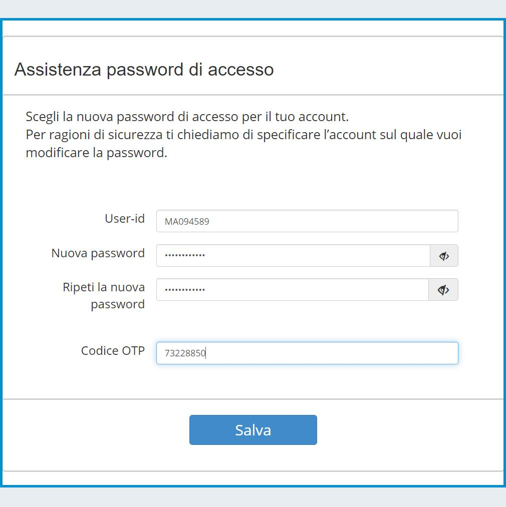 Imposta una nuova Password