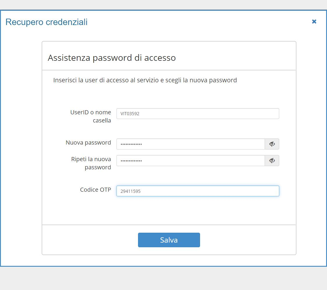 Imposta una nuova Password