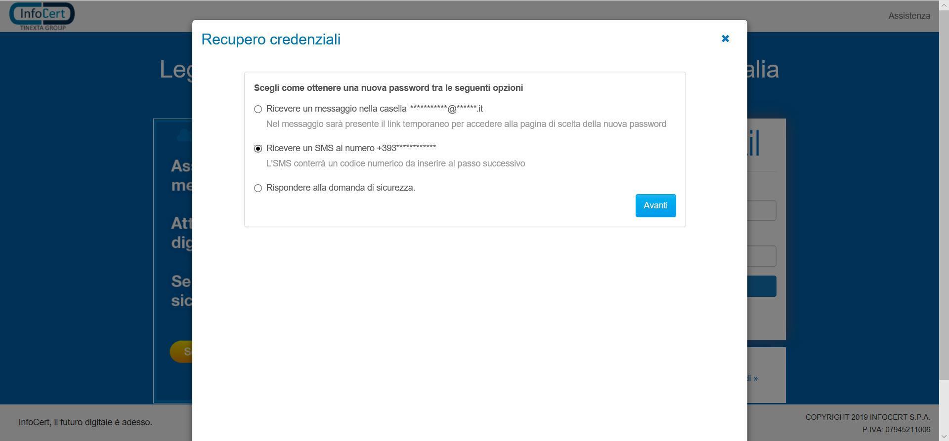 Recupero password via SMS