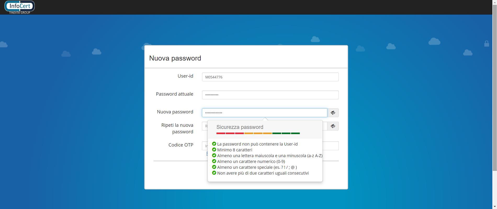 Inserisci la Nuova Password 1