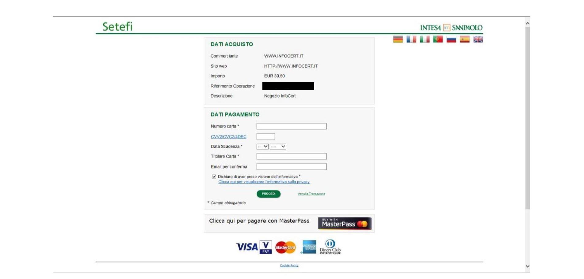Pagamento Carta di credito 2