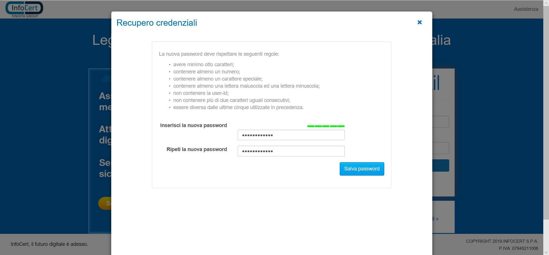 Scegli una nuova password