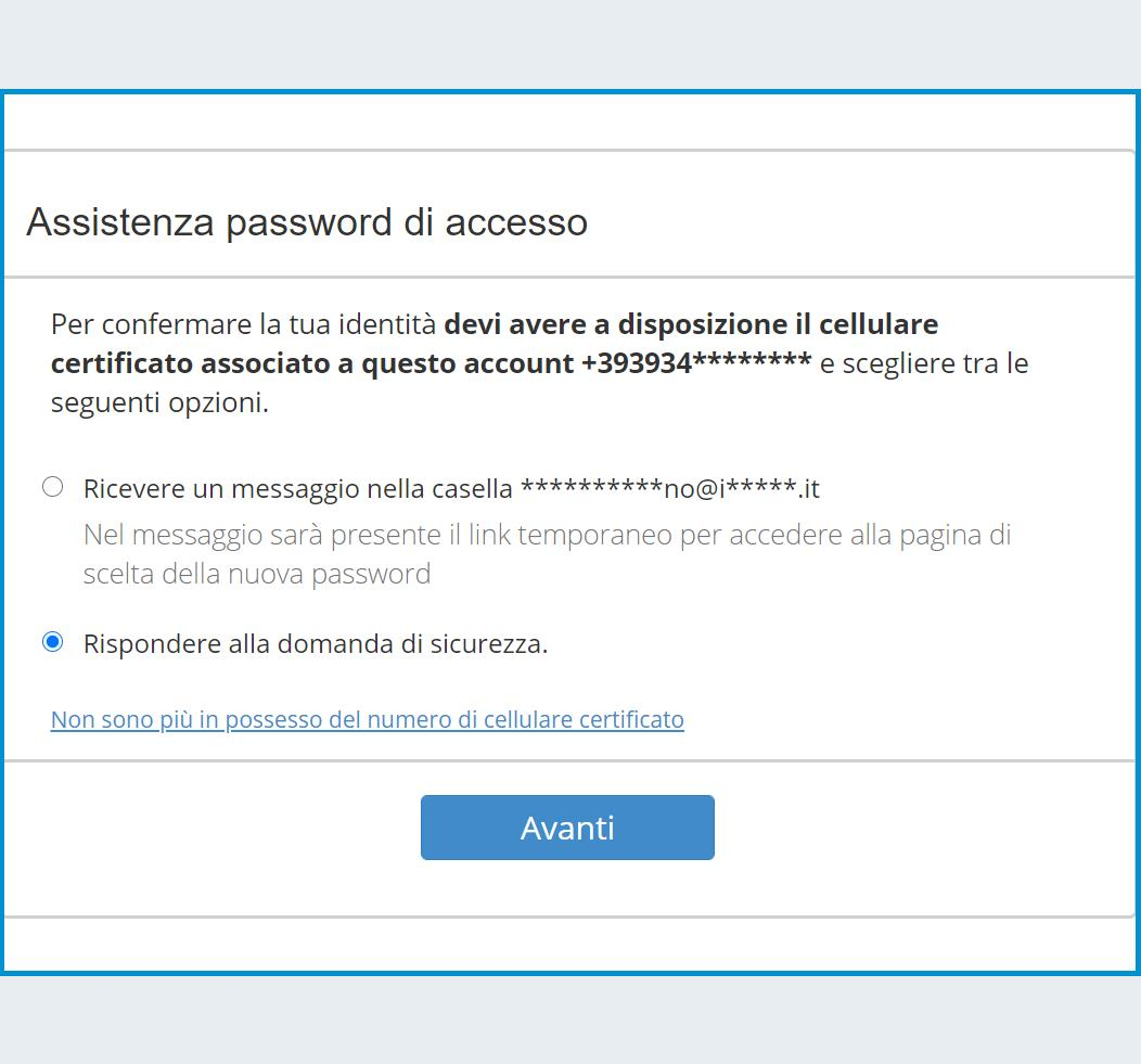 Recupero della password con Domanda di Sicurezza
