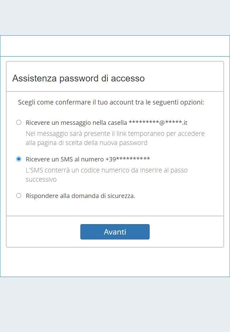Recupero della password via SMS